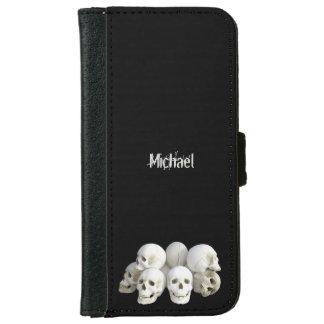 Coque Avec Portefeuille Pour iPhone 6 Pile déplaisante de crânes