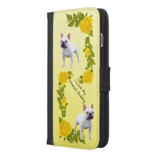 Coque Avec Portefeuille Pour iPhone 6 Plus Bouledogue français et roses jaunes