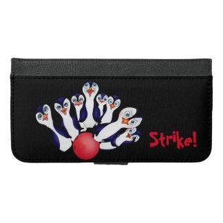 Coque Avec Portefeuille Pour iPhone 6 Plus Bowling heureux et Penguinpins par les élém.
