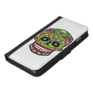 Coque Avec Portefeuille Pour iPhone 6 Plus Jour du crâne vert mort