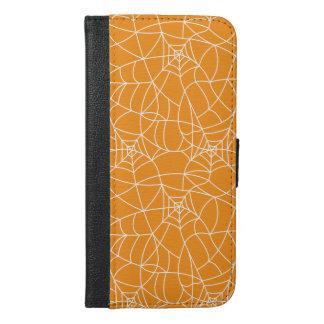 Coque Avec Portefeuille Pour iPhone 6 Plus Motif blanc de Web spider sur l'arrière - plan