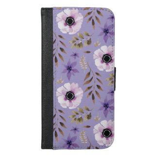 Coque Avec Portefeuille Pour iPhone 6 Plus Motif botanique floral pourpre dessiné romantique