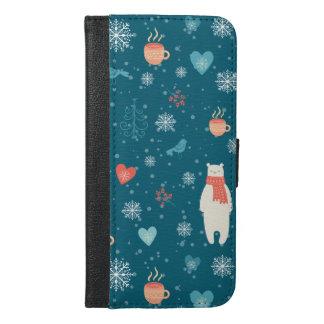 Coque Avec Portefeuille Pour iPhone 6 Plus Motif de paquets de Joyeux Noël - motif d'hiver