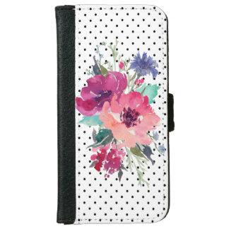 Coque Avec Portefeuille Pour iPhone 6 Rose sauvage floral sur l'arrière - plan de points