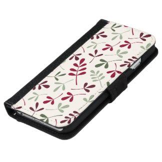 Coque Avec Portefeuille Pour iPhone 6 Rouges et verts assortis de Ptn de feuille sur la