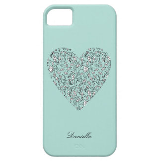Coque Barely There iPhone 5 Caisse bleue de l'iPhone 5 de coeur d'amour de