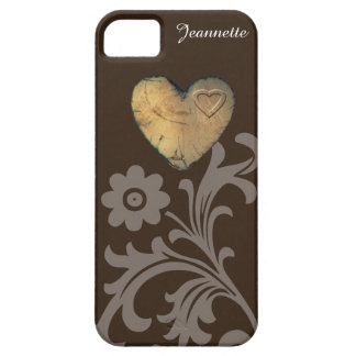 Coque Barely There iPhone 5 cas de l'iPhone SE/5/5S - coeur en bois de