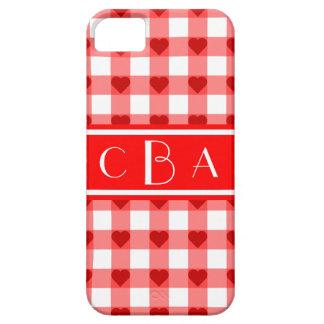 Coque Barely There iPhone 5 Coeurs de guingan de monogramme