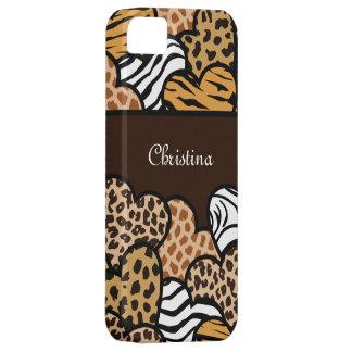 Coque Barely There iPhone 5 Coeurs Girly de poster de animal de Brown avec un