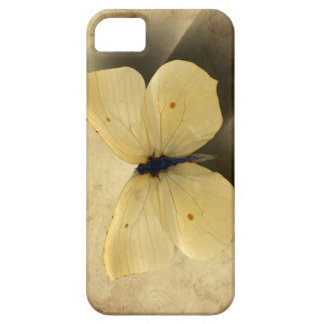 Coque Barely There iPhone 5 Papillon jaune grunge avec l'ombre