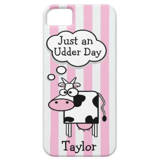 Coque Barely There iPhone 5 Rayures roses personnalisées par vache drôle