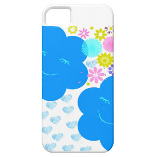Coque Barely There iPhone 5 Sourire, nuages, coeurs, fleurs, bleu, rose, jaune