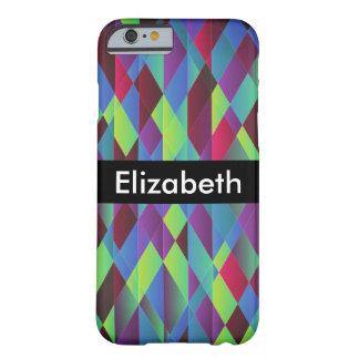 Coque Barely There iPhone 6 Arrière - plan carré coloré lumineux avec le nom