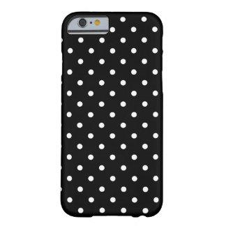 Coque Barely There iPhone 6 Arrière - plan noir de petit pois blanc