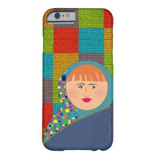 Coque Barely There iPhone 6 Belle femme rouge de cheveux de carrés colorés