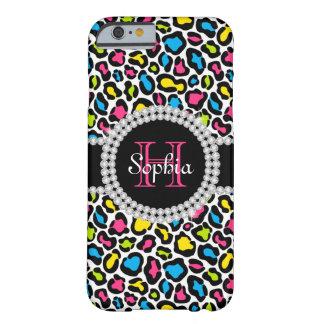 Coque Barely There iPhone 6 Caisse rose de l'iPhone 6 de monogramme de léopard