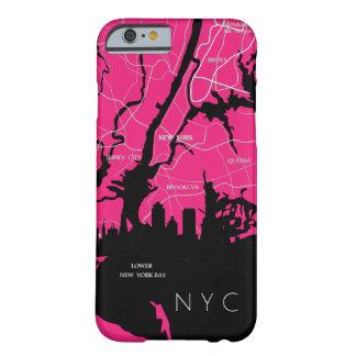 Coque Barely There iPhone 6 Carte de New York, NYC, rose, art de bruit