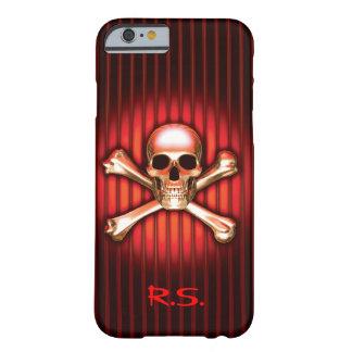 Coque Barely There iPhone 6 Cas de chrome de l'iPhone rouge 6 de crâne et d'os
