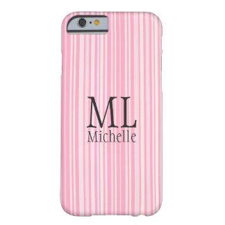 Coque Barely There iPhone 6 Cas rayé rose et de corail décoré d'un monogramme