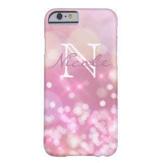 Coque Barely There iPhone 6 Cas rose fascinant de téléphone de monogramme