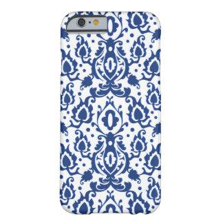 Coque Barely There iPhone 6 Casablanca damassé bleue et blanche de Casbah