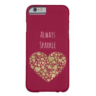 Coque Barely There iPhone 6 Coeurs scintillants d'étincelle de rose d'or