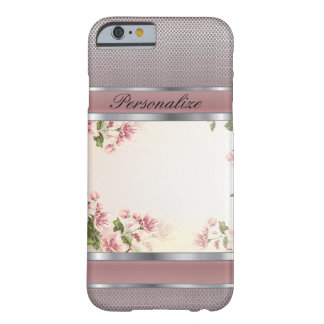 Coque Barely There iPhone 6 Conception florale et argentée mauve élégante en