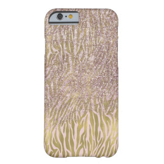 Coque Barely There iPhone 6 Copie rose de zèbre de scintillement de Faux