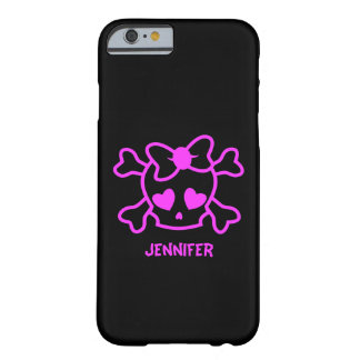 Coque Barely There iPhone 6 Crâne girly rose d'emo avec l'arc