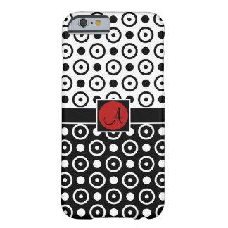 Coque Barely There iPhone 6 Demi de monogramme à moitié blanc noir élégant de