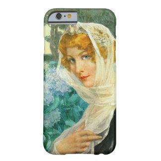 Coque Barely There iPhone 6 Jeune femme avec les hortensias 1900