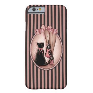 Coque Barely There iPhone 6 Jeune femme élégante et chat noir