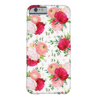 Coque Barely There iPhone 6 Les pivoines rouges et blanches de Bourgogne,