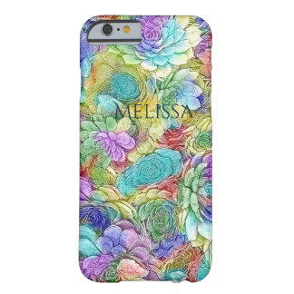 Coque Barely There iPhone 6 Les usines succulentes de nature colorée ajoutent
