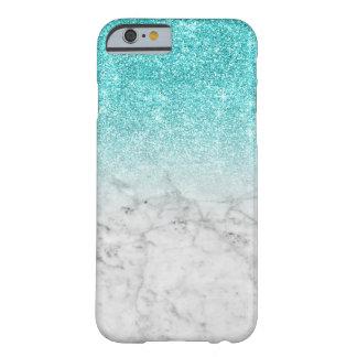 Coque Barely There iPhone 6 Marbre à la mode Girly de scintillement d'Aqua de