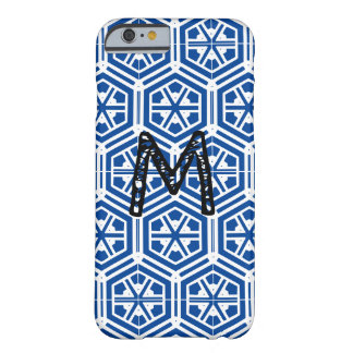 Coque Barely There iPhone 6 monogramme bleu de motif