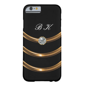 Coque Barely There iPhone 6 Monogramme de luxe d'or de Faux