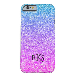Coque Barely There iPhone 6 Monogramme rose et bleu simple d'impression de