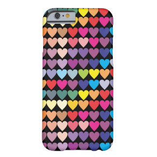 Coque Barely There iPhone 6 Motif de coeurs d'arc-en-ciel