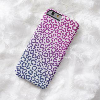 Coque Barely There iPhone 6 Motif pourpre et bleu rose d'empreinte de léopard