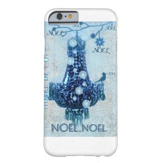 Coque Barely There iPhone 6 Noel, Noël, neige, oiseau, lustre, bleu