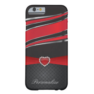 Coque Barely There iPhone 6 Noir élégant, argent et bijou rouge de ruban