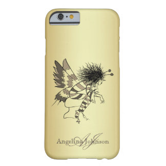 Coque Barely There iPhone 6 Papillon d'or artistique de monogramme