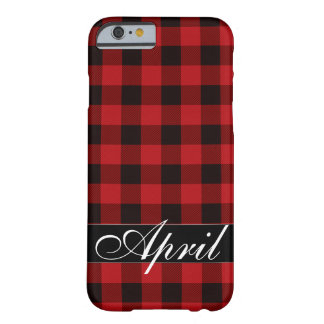 Coque Barely There iPhone 6 Plaid rouge et noir de pays