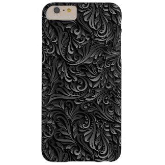 Coque Barely There iPhone 6 Plus Caisse florale noire abstraite de vigne