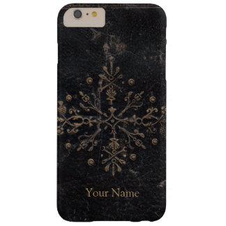 Coque Barely There iPhone 6 Plus Cuir antique de Fleur-De-lis de feuille d'or