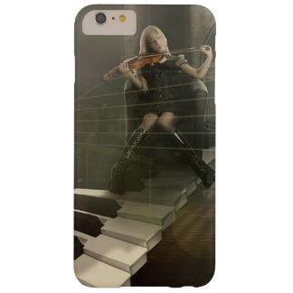 Coque Barely There iPhone 6 Plus Femme musicale d'art jouant le violon sur des clés