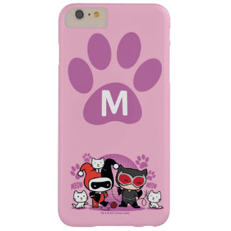 Coque Barely There iPhone 6 Plus Monogramme Chibi Harley Quinn et Catwoman avec des