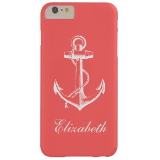 Coque Barely There iPhone 6 Plus Monogramme vintage de corail de coutume d'ancre