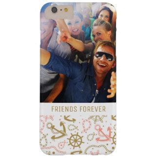 Coque Barely There iPhone 6 Plus Motif d'or | d'ancre votre photo et texte